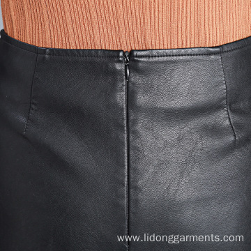 Sexy PU Leather A-line Irregularity Vent Skirt