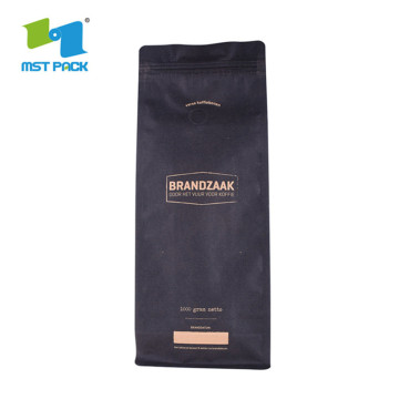 Eco friendly Kraft Paper square flat Coffee Bags With Valve And Ziplock