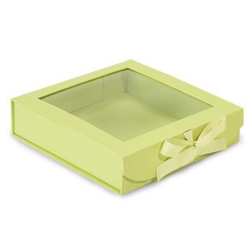 Cheap foldable flat cardboard gift box with window