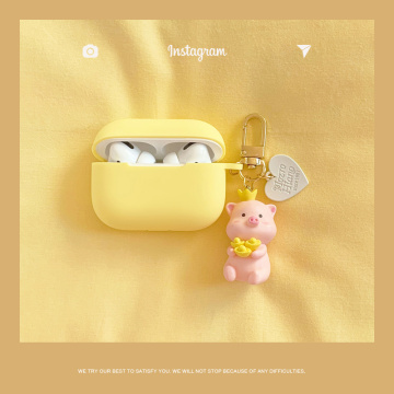 Fresh Yellow Case For Apple Airpods Pro Case Silicone Bluetooth Earphone Accessories Headphones Protect Cover Cartoon Key Ring