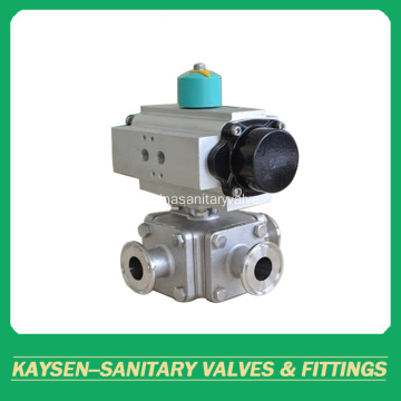 DIN Sanitary pneumatic square three way ball valves