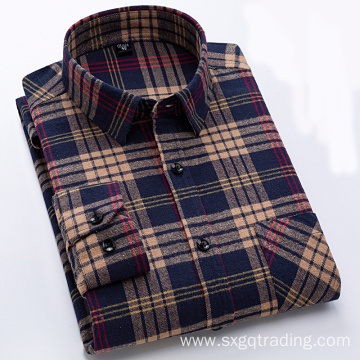Classic 100% cotton flannel shirt in winter