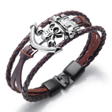 Brown leather boys one piece bracelet