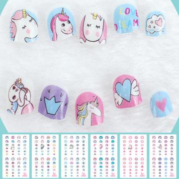 Unicorn Nail Stickers For Kids Cartoon Nail Art Decoration Nail Wraps Cute Elements Manicure Foil Nail Art Stickers Child tattoo