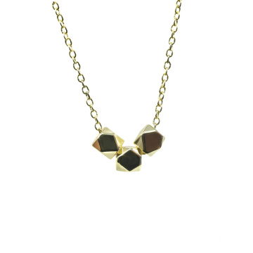 925 Silver Gold Plated Polyhedral Beads Necklace