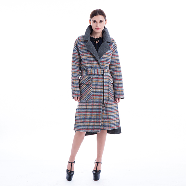 Plaid long cashmere coat