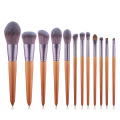 2020 new makeup brushes, 12 wood color pointed tail makeup brushes, seven color fiber hair beauty tool kits