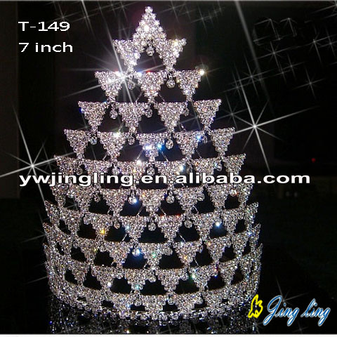 7 Inch Rhinestone Pageant Crowns T-149