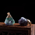 1PC natural colorful fluorite pendant crystal mineral jewelry chakra healing necklace fashion simple DIY fashion gift pendant