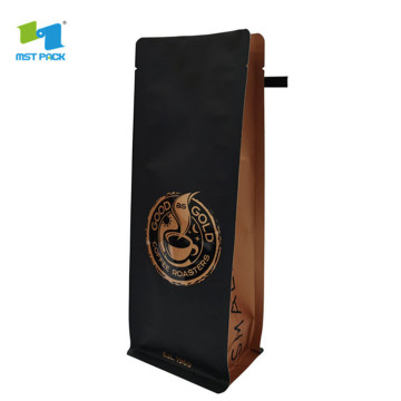 Custom product printing matte balck coffee pouch plastic foil valve bag low minimum