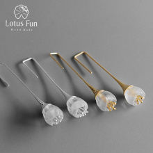 Lotus Fun Real 925 Sterling Silver Natural Crystal Handmade Fine Jewelry Lily of the Valley Flower Drop Earrings for Women Gift