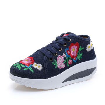 Canvas Shoes Embroidery patch Women's Fashion Lace Up