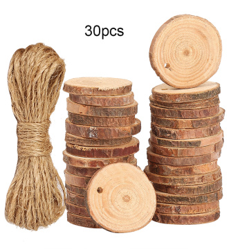 30pcs 3-4cm Unfinished Natural Round Wood Slices Log Discs for Arts Crafts Home Decoration Christmas Ornament with Hemp Rope