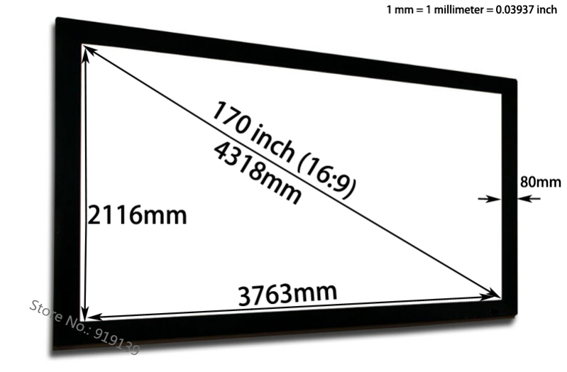 Professional Projection Screen Audio Transfer 3763x2216mm Viewable With Black Vlevet Frame For BenQ Epson Projector