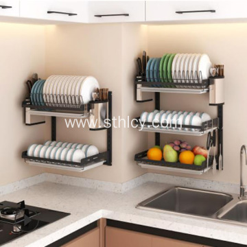 Nail Free Wall Hanging Stainless Steel Dish Rack