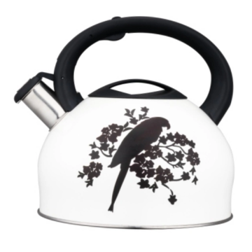 white Whistle kettle with anti-scald lid