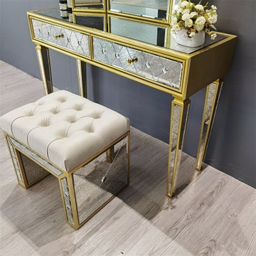 golden painting antique mirror dressing table stool