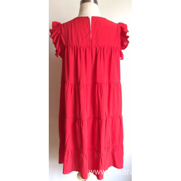 Viscose Ruffle Sleeve Embroidery Dress for Ladies