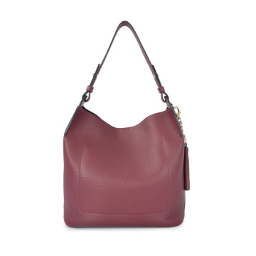 Minimalist Slouch Hobo Soft Red Medium Leather Bags