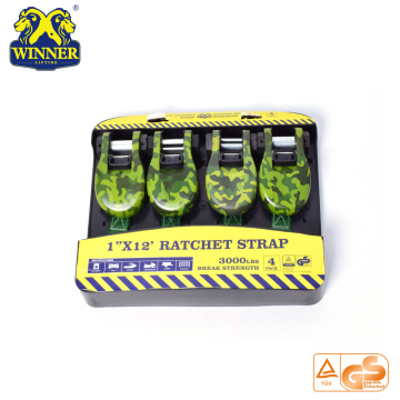"4PC 1""X12"" Camouflage Ratchet Tie Down Cargo Straps"