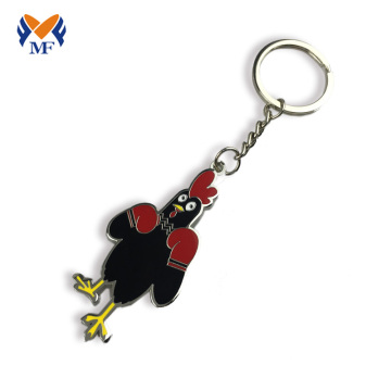 Metal custom chicken shape hard enamel keychain