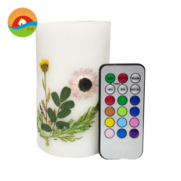 Wholesale LED flameless battery operated Ivory pillar candle