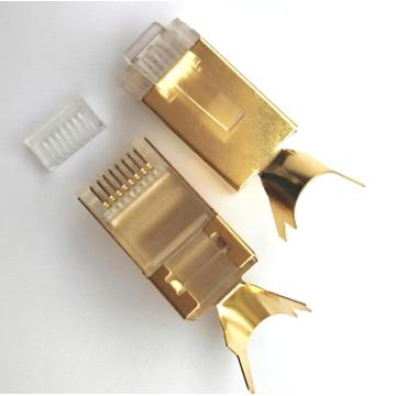 Plugue RJ45 do conector RJ45 8P8C Cat7 com o plugue do chapeamento de ouro 50U 8P8C