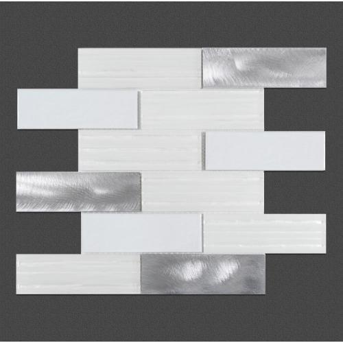Off-white smooth modern glass mosaic tiles