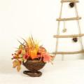 Artificial Flower Mixed Maple Leaves Barley Pumpkin Basket Table Centerpieces Autumn Harvest Thanksgiving Decorations