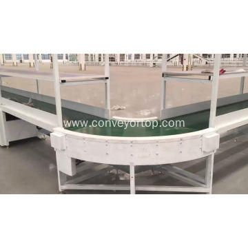 Industrial production line with pvc curve belt conveyor