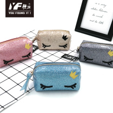 Cute eye style glitter PU coin purse