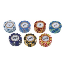 Free shipping 5pcs Poker Chips Clay Casino Coins 14g Texas Hold'em Baccarat Card Protector 4cm