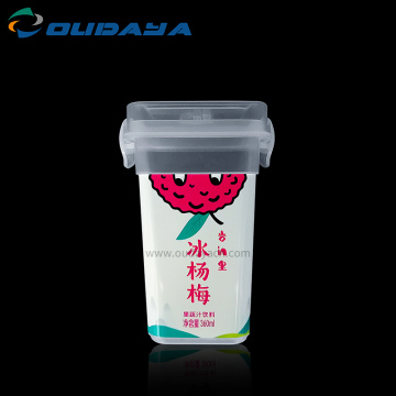 food grade square transparent plastic cup cold drinking