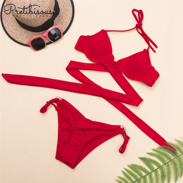 Female cross bandage halter bikini set swimsuit