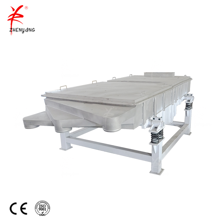 Single deck linear vibrating screen for impurity removal