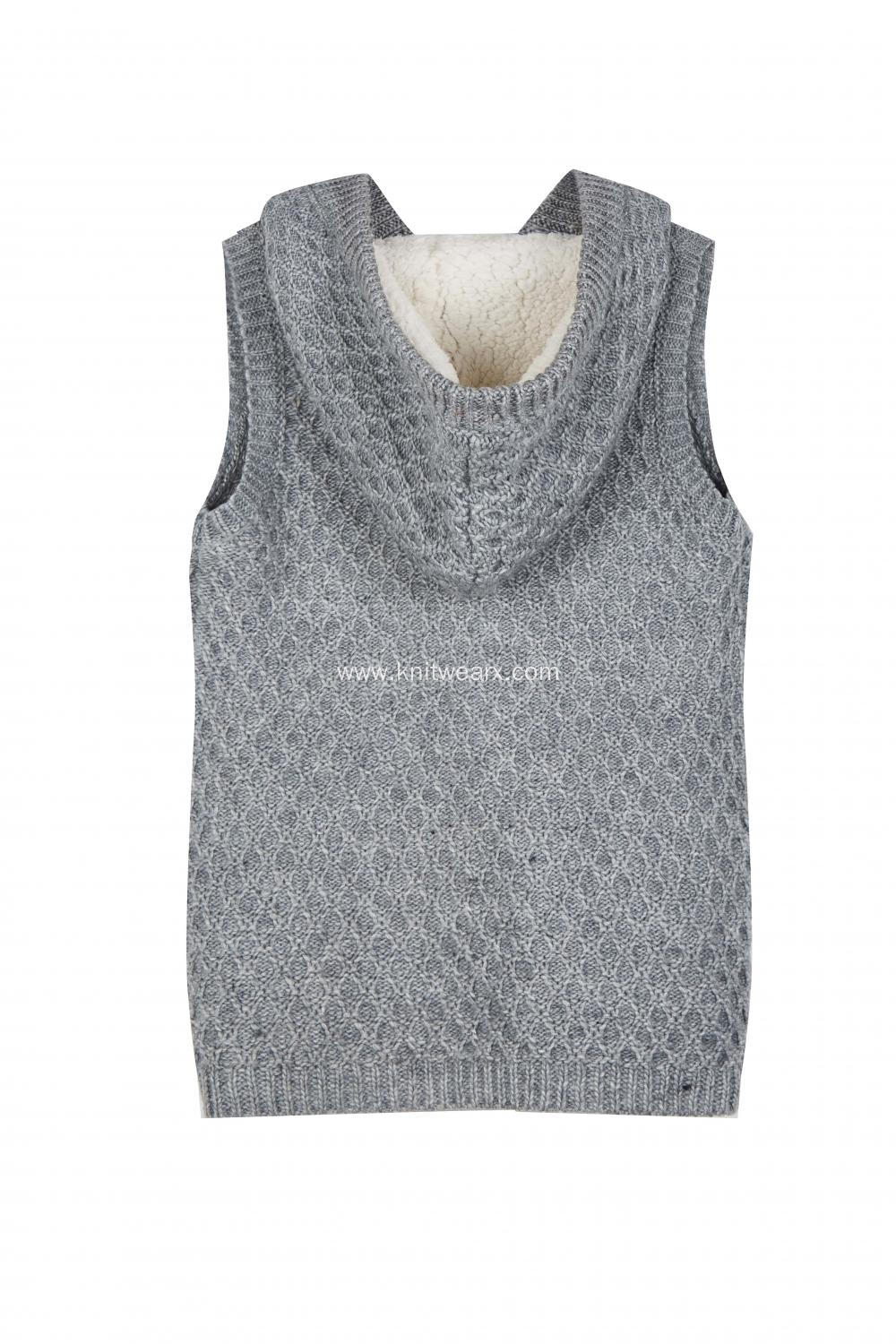 Women's Knitted Button Lined Hoodie Pocket Vest Cardigan
