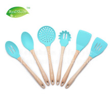 6 Piece Wooden Handle Silicone Cooking Utensil Set