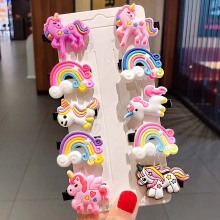 10PCS/Set New Cute Colorful Cartoon Unicorn Hairpins For Girls Headband Sweet Hair Clips Barrettes Kids Fashion Hair Accessories