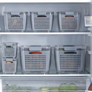 Multifunctional Double Drain Basket Washing Kitchen Refrigerator Strainer Kitchen Containers Vegetable Crisper Fruit Storage