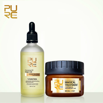 PURC 100% Natural Organic Extract Virgin Coconut Oil and Magical treatment Mask 5 seconds Repair damage Restore Soft Hair 11.11