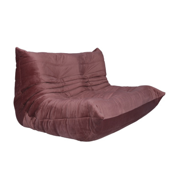 Pink Fabric Togo Two Seater Sofa without Armrest