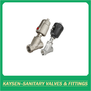 DIN Sanitary pneumatic female threaded angle seat valves