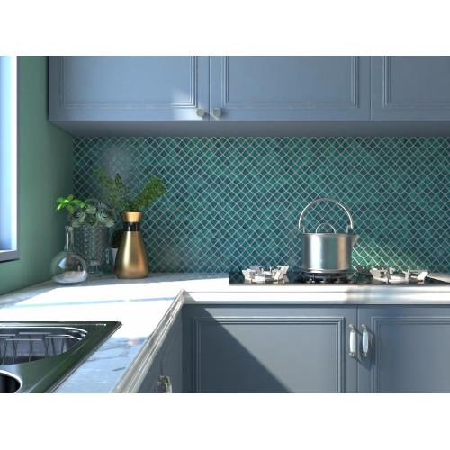 Green Glass Mosaic Tiles For Kitchen Decoration Design