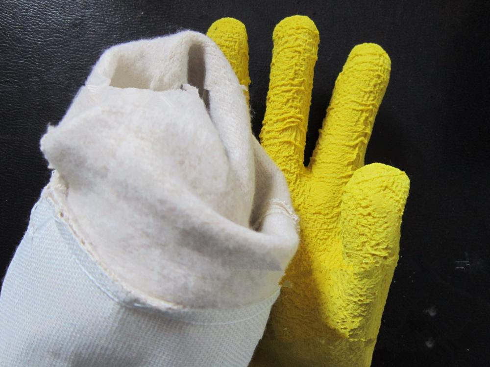 Yellow latex safety cuff gloves with Cotton lining