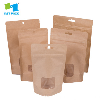 Kraft Paper Bag Custom Window Stand Up Bag
