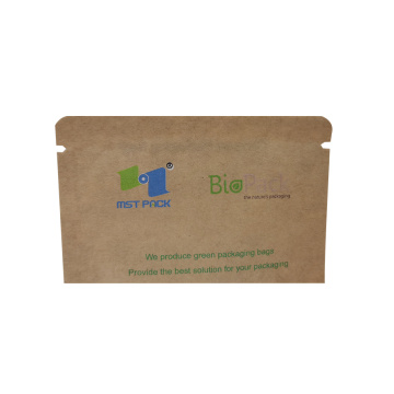 eco friendly bio PLA 3 side seal paper bag