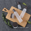 High-grade Cosmetic transparent Frosted glass bottles/jars with BLACK wood grain cap