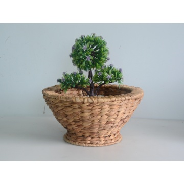 Round taper nature water hyacinth flower basket
