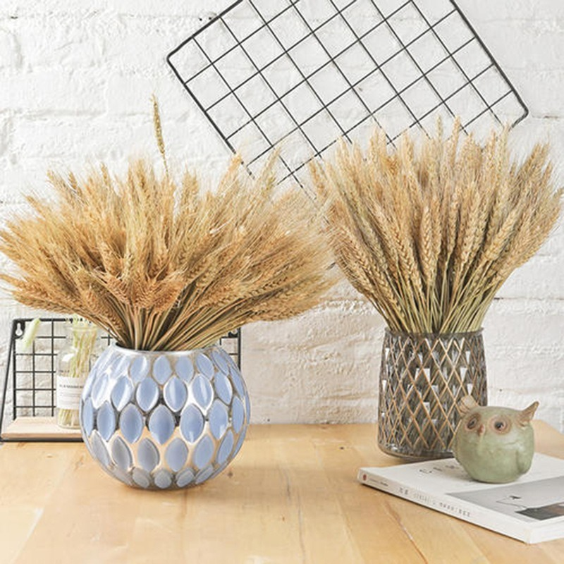 Dried Wheat Ear Bunches Flower Bouquets Natural Raw Color Dried Ears of Wheat Bouquets DIY Wedding Party Home Decoration