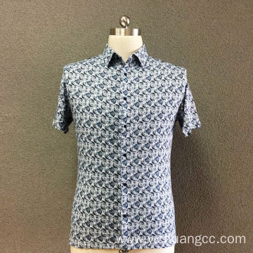 Men's cotton knitted printed short sleeves shirt